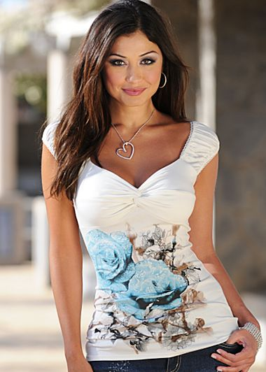 White & Blue Rose print top from VENUS