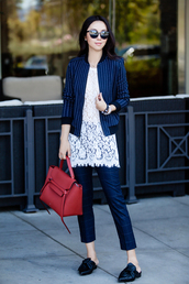 fit fab fun mom,blogger,bag,sunglasses,jewels,red bag,handbag,celine,celine bag,white lace top,lace top,white top,jacket,bomber jacket,striped jacket,black sunglasses,checkered pants,checkered,slide shoes,zara shoes,capri pants,mules,black slides,office outfits,fall outfits