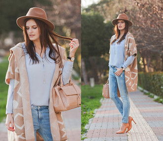 cardigan oversized spring fashion the bow-tie blogger fedora