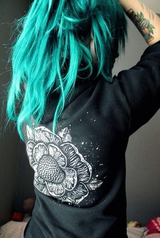 sweater black cute hoodie flowers band merch grunge alternative indie rock 90s style pastel hair jacket