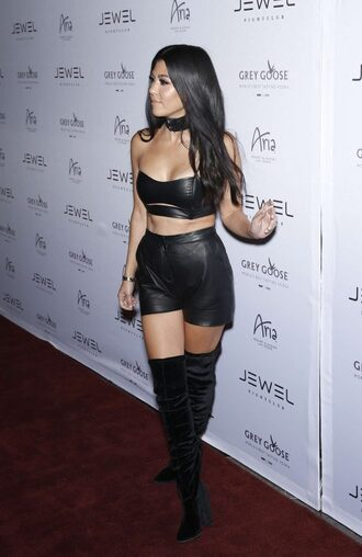 shorts leather bandeau bra kourtney kardashian kardashians edgy sexy all black everything crop tops choker necklace black choker black crop top high waisted shorts knee high boots suede boots
