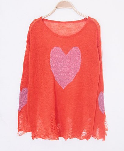 Red Sweater - Red & Pink Heart Print | UsTrendy