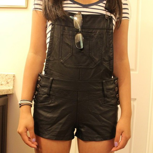 overalls jumpsuit dungarees faux leather