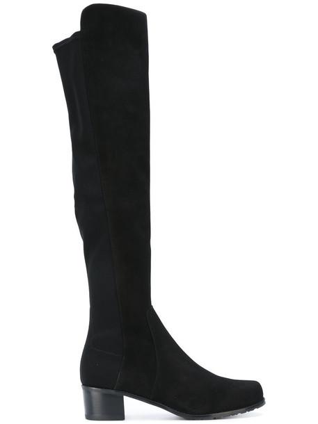 STUART WEITZMAN women spandex leather suede black shoes
