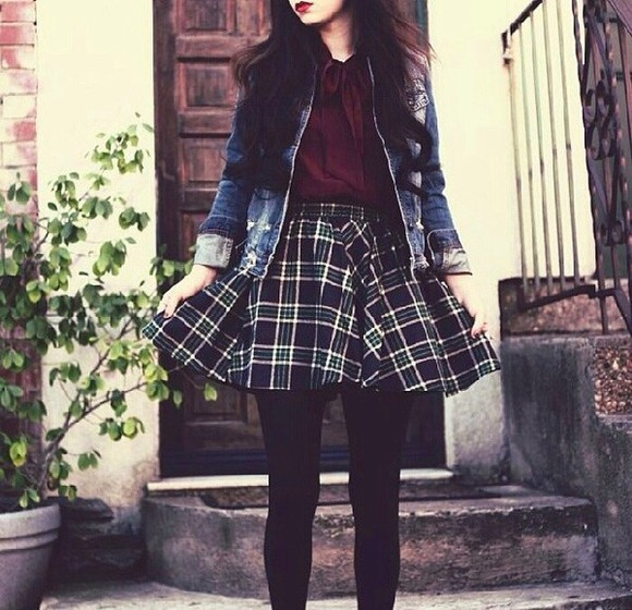 90s grunge cute skirt 90s grunge soft grunge plaid skirt plaid dope blouse dark