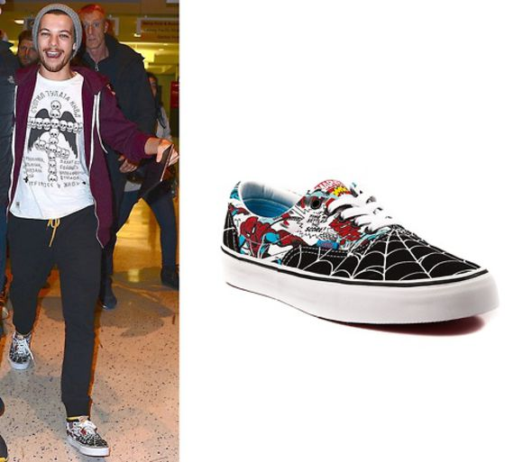 one direction cute louis tomlinson shoes vans sneakers spider-man cool authentic