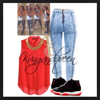 blouse retro 11 red blouse 0g_manaaa acid wash jeans jewels jeans