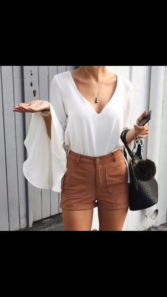 shorts brown brown shorts blouse white blouse shirt dress flowy shirt