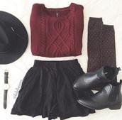 boots,black leather,heel,burgundy,knee high socks,chelsea boots,hair accessory