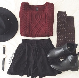 boots black leather heel burgundy knee high socks chelsea boots hair accessory