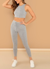 jumpsuit,girly,girl,girly wishlist,grey,two-piece,cropped,crop tops,crop,knitwear,knit,leggings