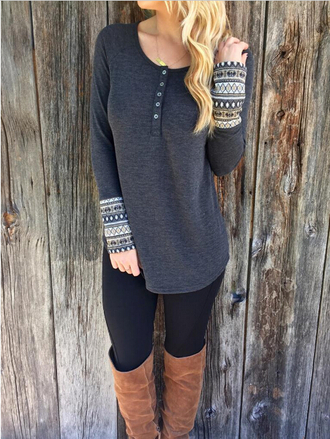 blouse girl girly wishlist girly cute tribal pattern button up grey top long sleeves