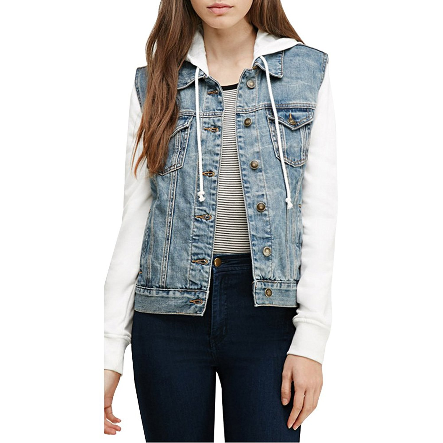 Womens BF Boyfriend Splice Denim Jacket with Hood Coat Baseball Hoodie at Amazon Women's Clothing store: