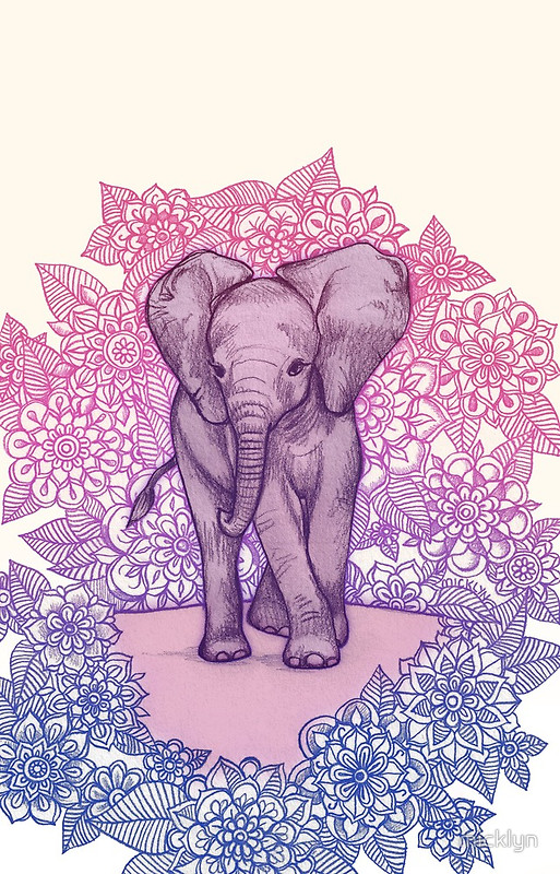 """cute baby elephant in pink, purple & blue"
