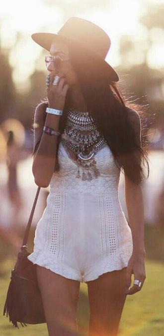 jumpsuit jump suit white lac lace white lace dress dress white dress hippie hat jewels boho chic boho boho dress boho jewelry indie indie boho jewerly