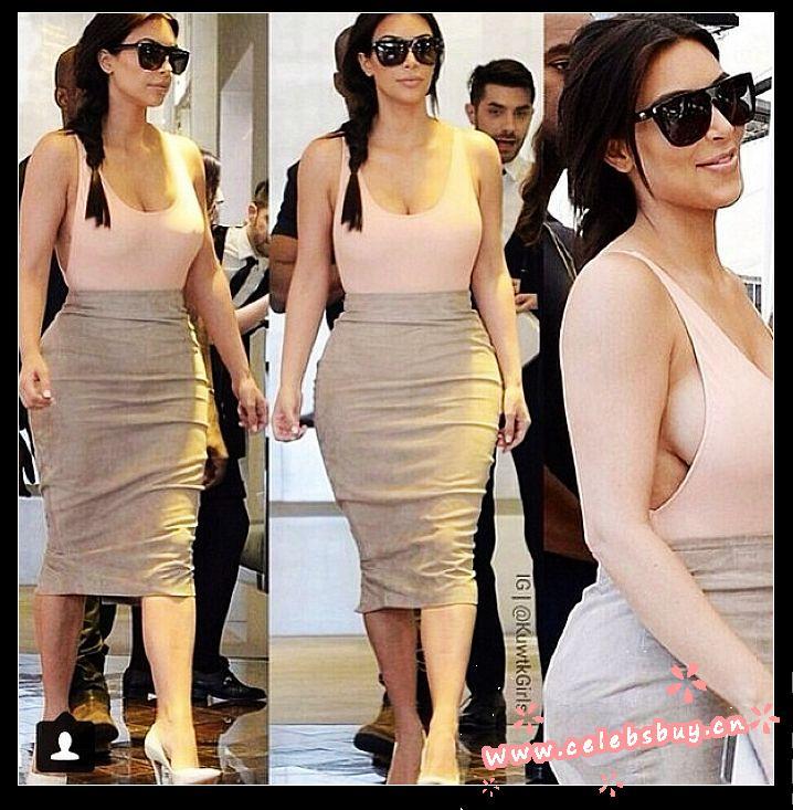 Kim kardashian peach top dress_new arrivals_celebrity dress online shopping prom dress