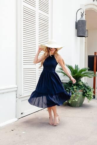 dress tumblr blue dress navy dress midi dress halter dress halter neck sandals sandal heels hat shoes