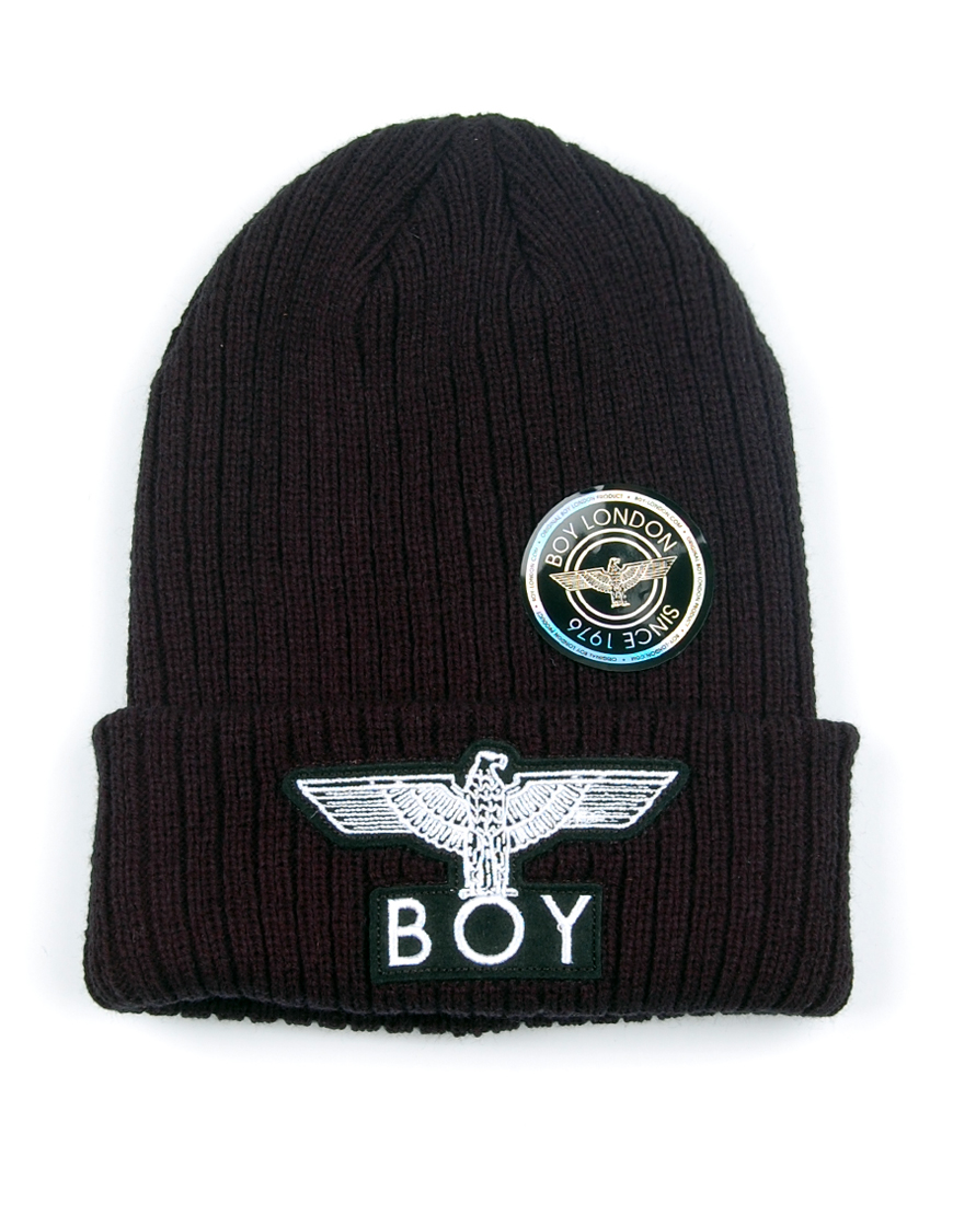 BOY London Ribbed Beanie Hat - Black