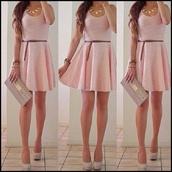 dress,pink,pink dress,short dress,girly,little black dress,prom dress,cute dress,summer dress,lace dress,high heels,cute,looking,belt,jewels,bag,lovely,earphones,fashion,style,shoes,skirt