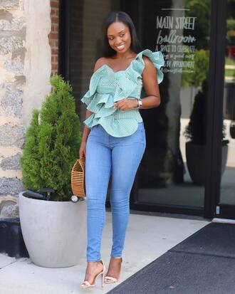 top tumblr asymmetrical asymmetrical top gingham denim jeans blue jeans sandal heels sandals high heel sandals bag shoes