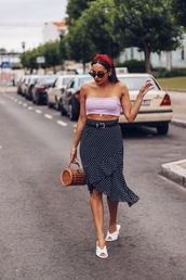 skirt,midi skirt,wrap ruffle skirt,slide shoes,handbag,crop tops,sunglasses,belt