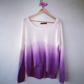 sweater clothes ombre knitwear pink sweater pretty tie and dye purple white oversized sweater purple sweater lilla