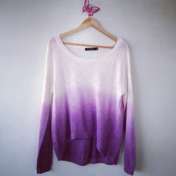 sweater clothes ombre knitwear pink sweater pretty tie dye purple white oversized sweater purple sweater shirt comfy lilla slouch casual dip dyed purple ombre tumblr ombre shirt