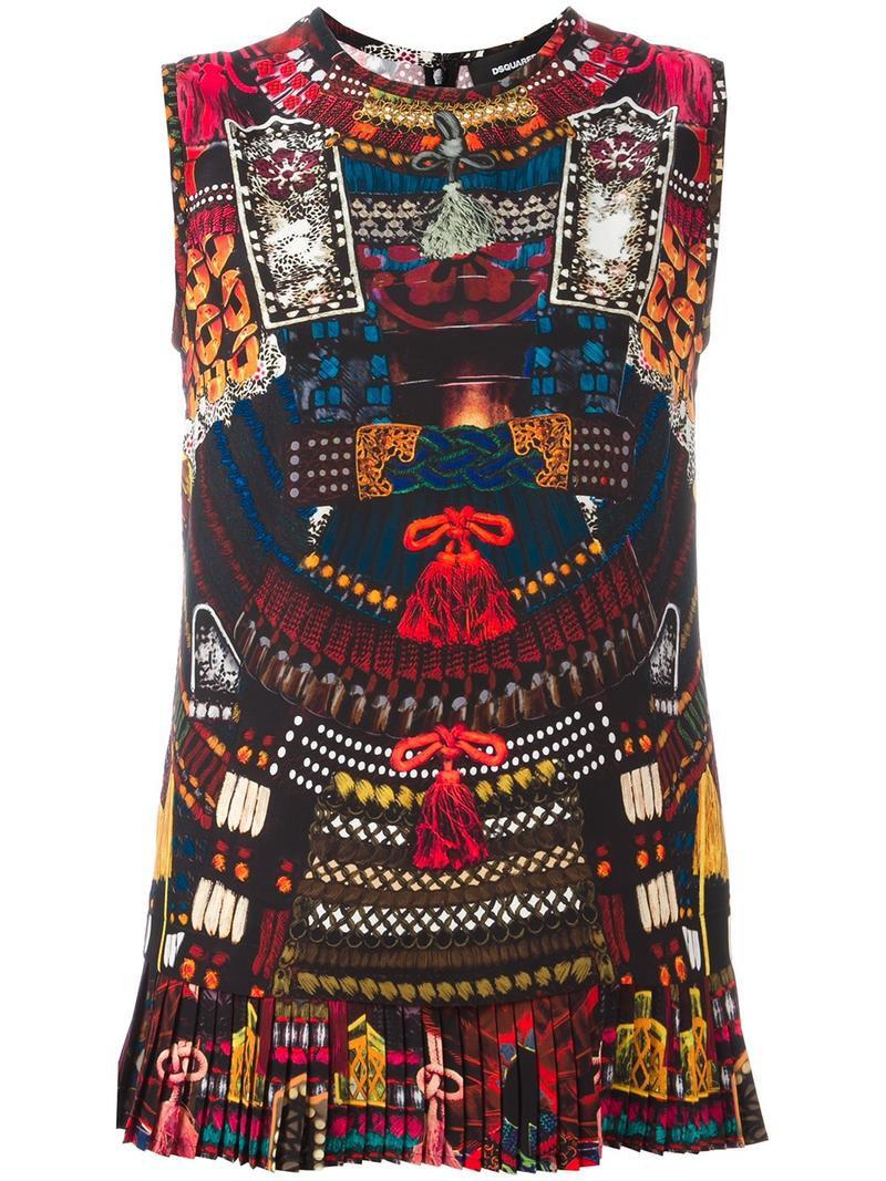 Dsquared2 'Samurai' print tank top, Women's, Size: 44, Silk
