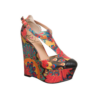 shoes pennyloveskenny vintage colorful wedges peacock