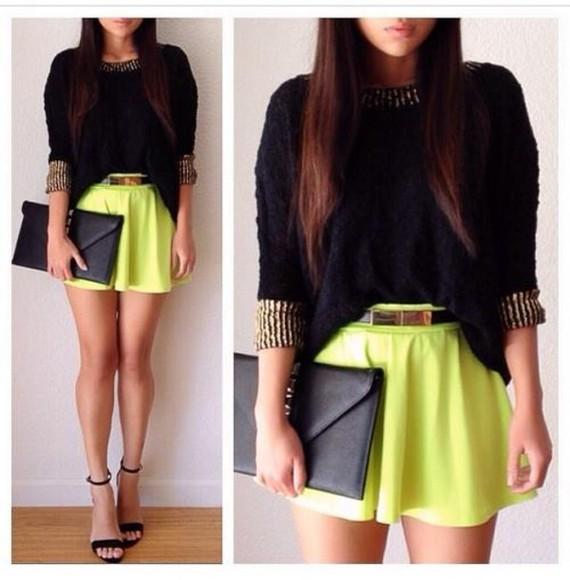 skirt sweater short skirt neon green bag