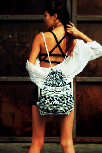 bag boho bohemian bohemian style hippie hipster coachella tribal print geometric backpack fabric black