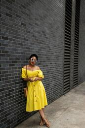mattieologie,blogger,shoes,bag,sunglasses,make-up,yellow dress,sandals,midi dress,fall outfits