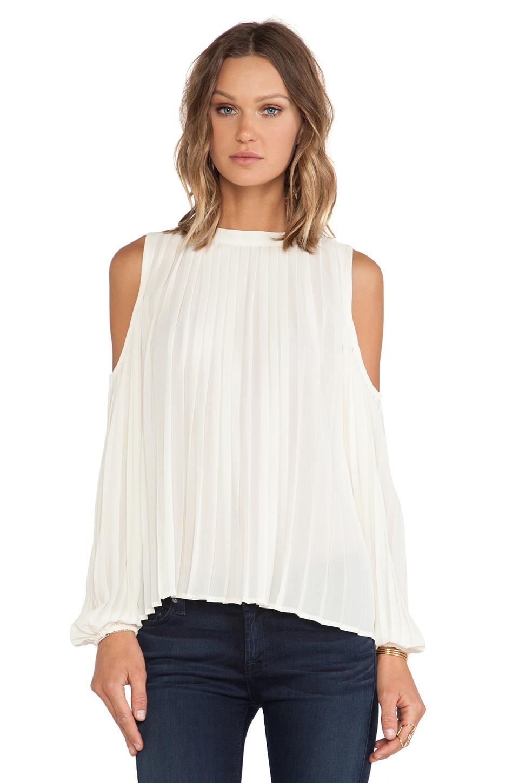 Beige Off The Shoulder Long Sleeve Ruched Blouse - Sheinside.com