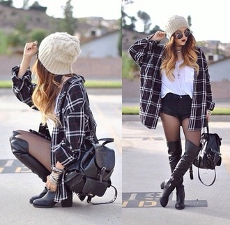 shoes black shoes over knee high boots boots thigh-high boots black knee high boots coat