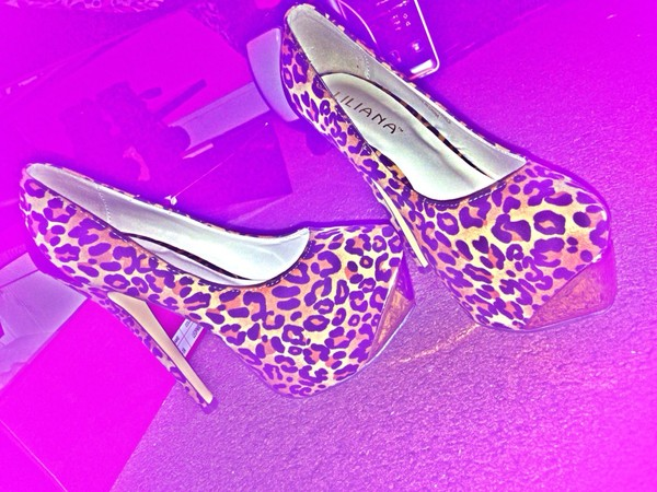 shoes leopard print high heels