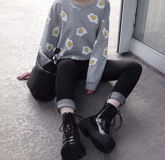 top sweater grey sweater egg grunge sweater shirt tumblr soft grunge pale grunge grunge grey grey and white black black and white yellow white shoes sweatshirt jumpsuit kawaii pastel goth
