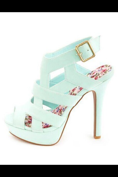 shoes baby blue high heels