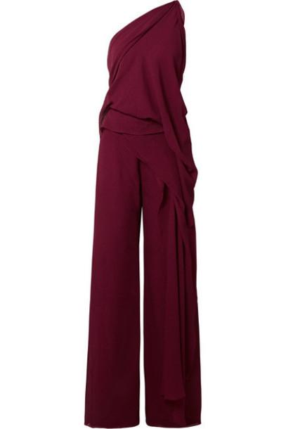 Roland Mouret - Nettleton Draped One-shoulder Silk-crepon Jumpsuit - Burgundy