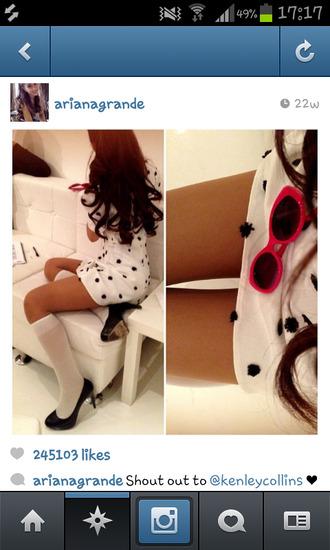 dress white polka dots short cute ariana grande high socks heels