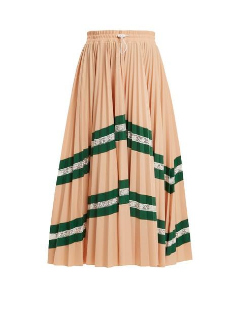 skirt pleated high chevron beige