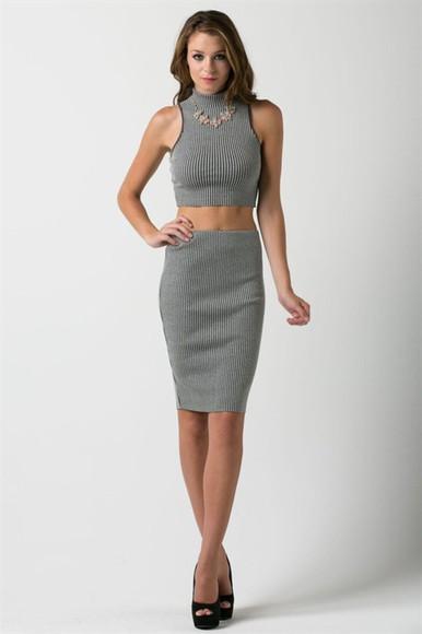 midi skirt pencil skirt skirt grey skirt crop tops high neck high neck crop top high neck crop top set high neck crop top skirt set two-piece two-piece grey set top and skirt set