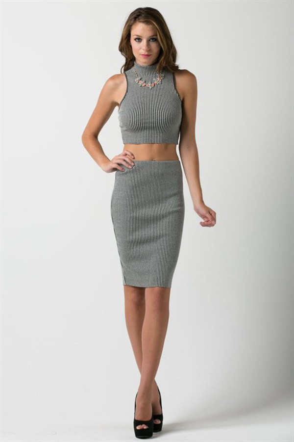 dress skirt pencil skirt midi skirt grey skirt crop
