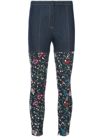 jeans embroidered women spandex cotton blue