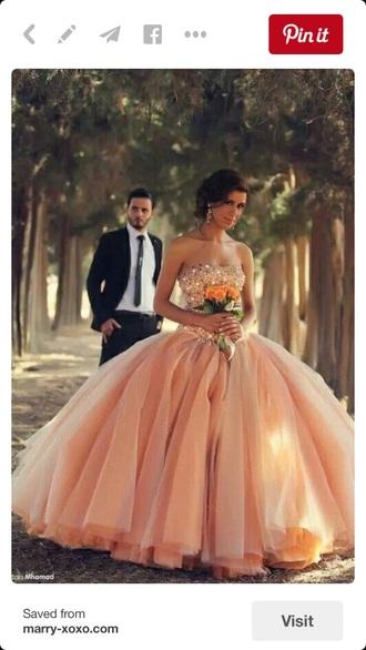 dress peach ball gown dress