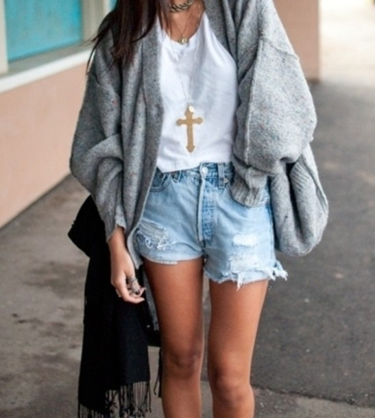 Jacket hipster cut off shorts girly all cute outfits oversized cardigan sweater oversized ...