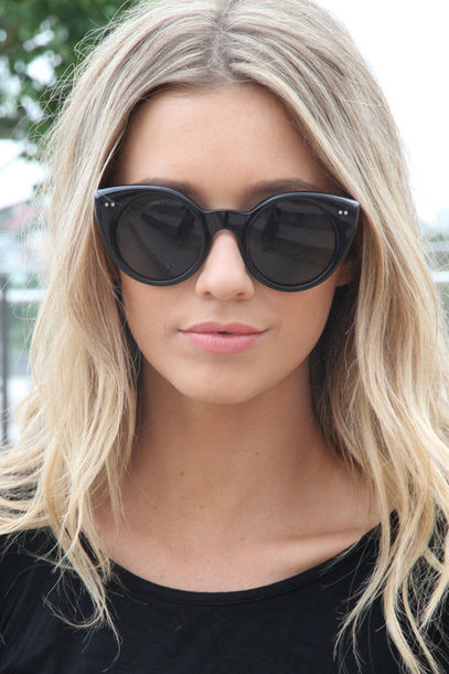 sunglasses cat eye black summer multi coloured black sunglasses model hair accessories girl blonde hair cat eye sunnies