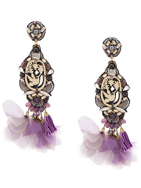 women embellished earrings purple pink jewels