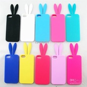phone cover,bunny ears,iphone 5 case,iphone cover,iphone case,pink case,i phone 5,rainbow,different color,iphone,phone,bunny