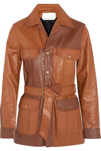 jacket leather jacket tan leather