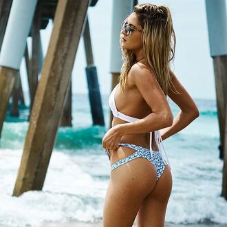 swimwear montce swim bikini bottoms cheeky cheeky bottom bikini blue white floral low rise low rise bikini